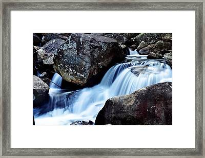 Rocks And Waterfall Framed Print by Adam LeCroy
