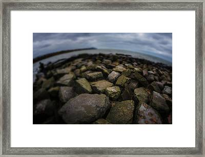 Rocks At Lake Erie  Framed Print