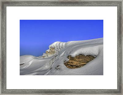 Rocks Covered With Snow Against Clear Blue Sky Framed Print