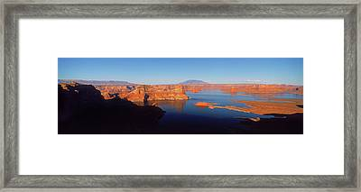 Rocks In A Lake, Lake Powell, Utah, Usa Framed Print
