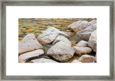 Rocks In A Lake Framed Print by Pati Photography