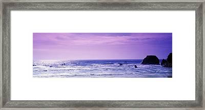 Rocks In The Ocean, Pacific Ocean Framed Print