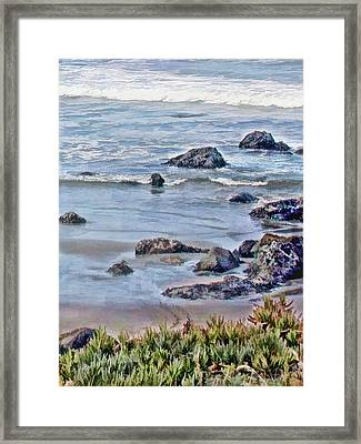 Rocks In The Sand And Waves Framed Print by Elaine Plesser