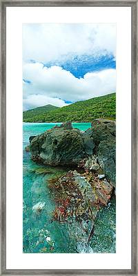 Rocks In The Sea, Jumbie Bay, St John Framed Print by Panoramic Images