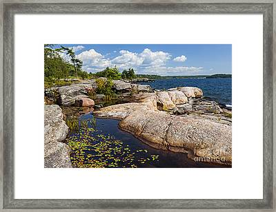 Rocks On Georgian Bay Shore Framed Print by Elena Elisseeva