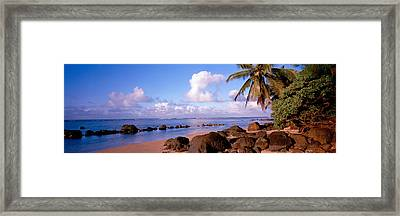 Rocks On The Beach, Anini Beach, Kauai Framed Print