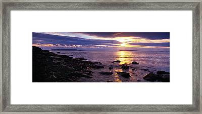 Rocks On The Beach At Dusk, Osmington Framed Print by Panoramic Images
