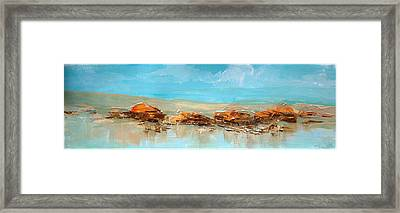 Rocks On The Beach Framed Print by Dale  Witherow
