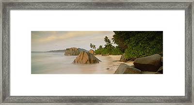 Rocks On The Beach, La Digue Island Framed Print