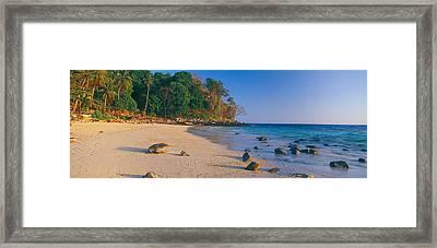 Rocks On The Beach, Phi Phi Islands Framed Print
