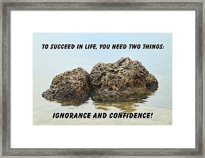 Rocks With Reflection Quote  Framed Print