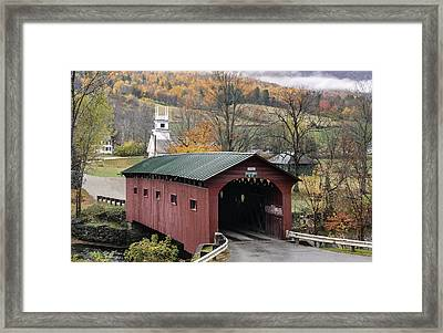 Rockwell Country - The Covered Bridge Of West Arlington Framed Print by Thomas Schoeller