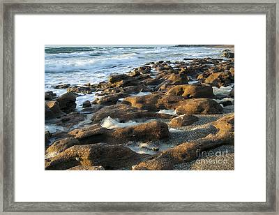 Rocky Beach At Sunrise Framed Print by Darleen Stry