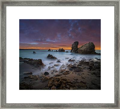 Rocky California Beach - Square Framed Print by Larry Marshall