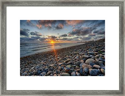 Rocky Coast Sunset Framed Print by Peter Tellone