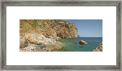 Rocky Cove In Lestartit, Costa Brava Framed Print