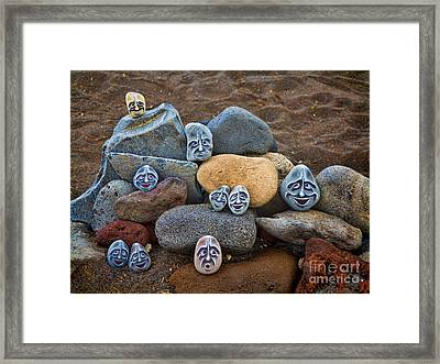 Rocky Faces In The Sand Framed Print