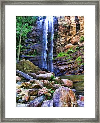 Framed Print featuring the photograph Rocky Falls by Kenny Francis