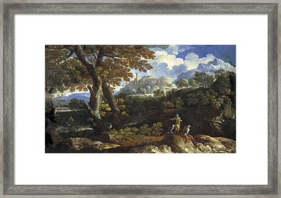 Rocky Landscape. 17th C. Work Framed Print by Everett