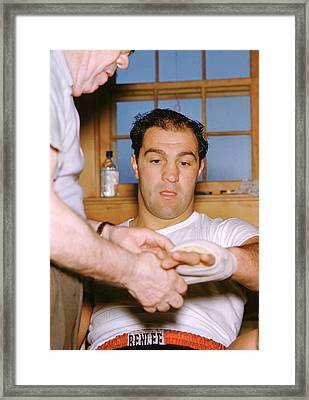 Rocky Marciano Getting Taped Up Framed Print by Retro Images Archive