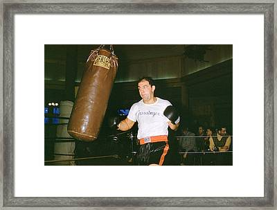 Rocky Marciano Working Heavy Bag Framed Print