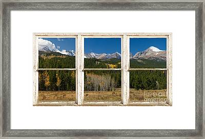 Rocky Mountain Continental Divide Rustic Window View Framed Print