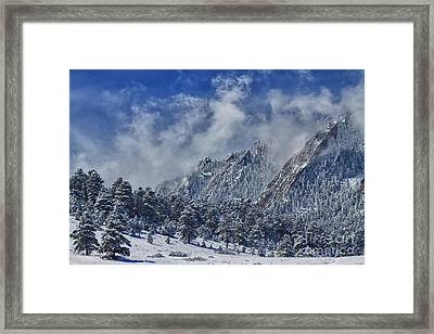 Rocky Mountain Dusting Of Snow Boulder Colorado Framed Print