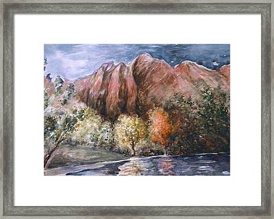 Rocky Mountain Fall Landscape - Water Color Framed Print by Art America Gallery Peter Potter