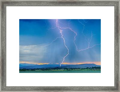 Rocky Mountain Foothills Lightning Strikes 2 Hdr Framed Print