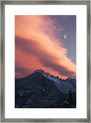 Rocky Mountain National Park Sunset Over Longs Framed Print by Aaron Spong