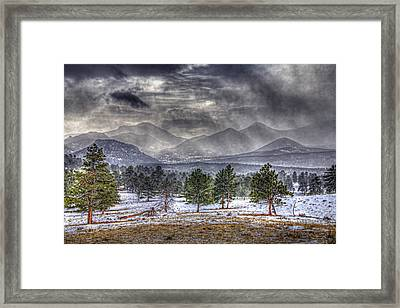 Rocky Mountain Snow Storm Estes Park Colorado Framed Print