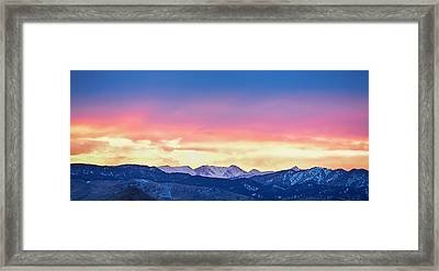 Rocky Mountain Sunset Clouds Burning Layers  Panorama Framed Print