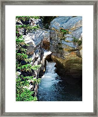 Rocky Mountain Waterfall Cascade Into Pool Framed Print by Julie Magers Soulen