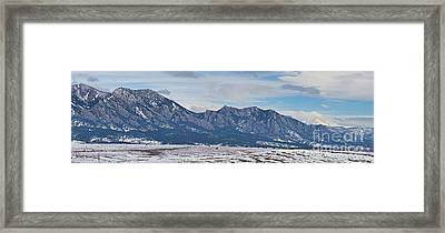 Rocky Mountains Flatirons And Longs Peak Panorama Boulder Framed Print by James BO  Insogna