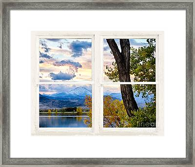 Rocky Mountains Lake Autumn Rustic White Washed Window View Framed Print