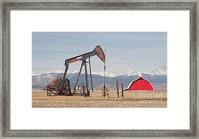 Rocky Mountains Oil Well And Red Barn Panorama Framed Print by James BO  Insogna