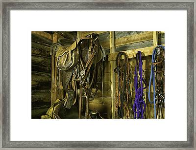 Rocky Mt Tack Room Framed Print