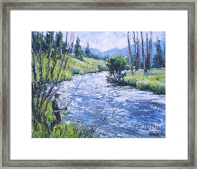 Rocky Mtn Fishing Framed Print by Vickie Fears