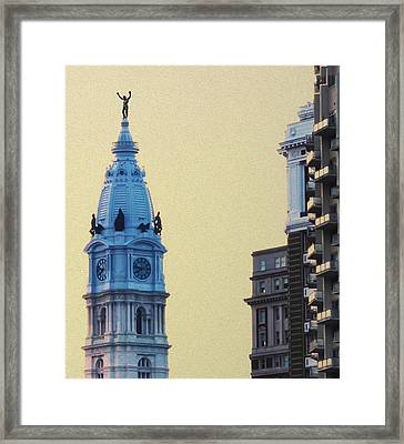 Rocky On Top Of City Hall Framed Print