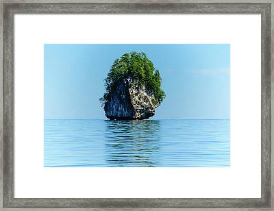 Rocky Outcrops In The Bacuit Framed Print by Michael Runkel