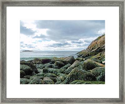Framed Print featuring the photograph Rocky Sand Beach by Gene Cyr