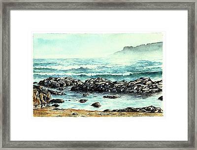 Framed Print featuring the painting Rocky Seashore by Heidi Kriel