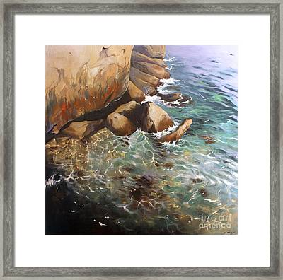 Rocky Shore Framed Print by Lin Petershagen