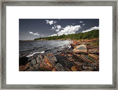 Rocky Shore Of Georgian Bay I Framed Print by Elena Elisseeva