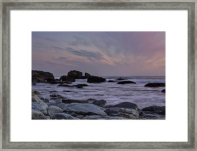 Rocky Shore Of Sachuest Framed Print by Andrew Pacheco