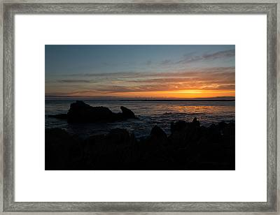 Rocky Sunset At Corona Del Mar Framed Print by John Daly