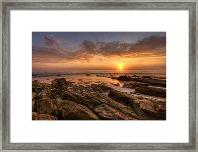 Rocky Sunset Framed Print by Peter Tellone