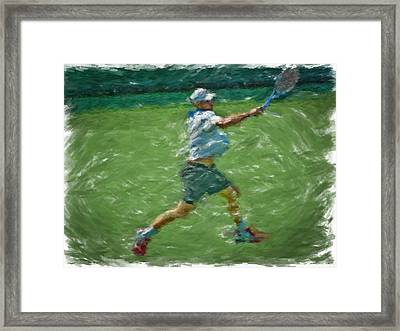 Roddick Return Framed Print by Brian Menasco