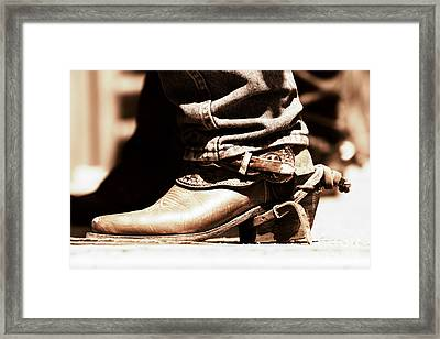 Framed Print featuring the photograph Rodeo Boot And Spur In Copper Tint by Lincoln Rogers