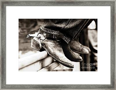 Rodeo Boots And Spurs In Black And White Framed Print